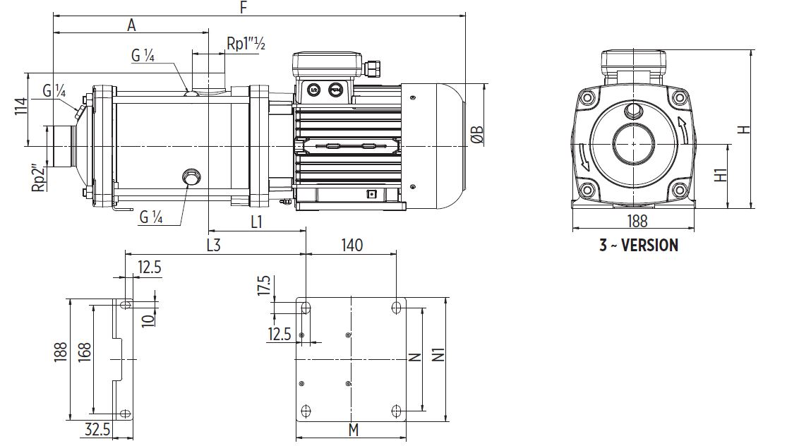 EH15 Horizontal multistage pump Dimensions three phase