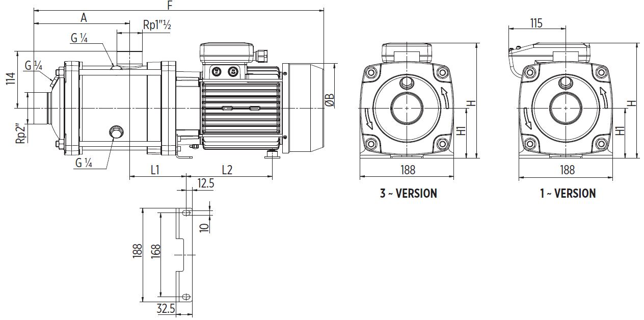 EH15 Horizontal multistage pump Dimensions
