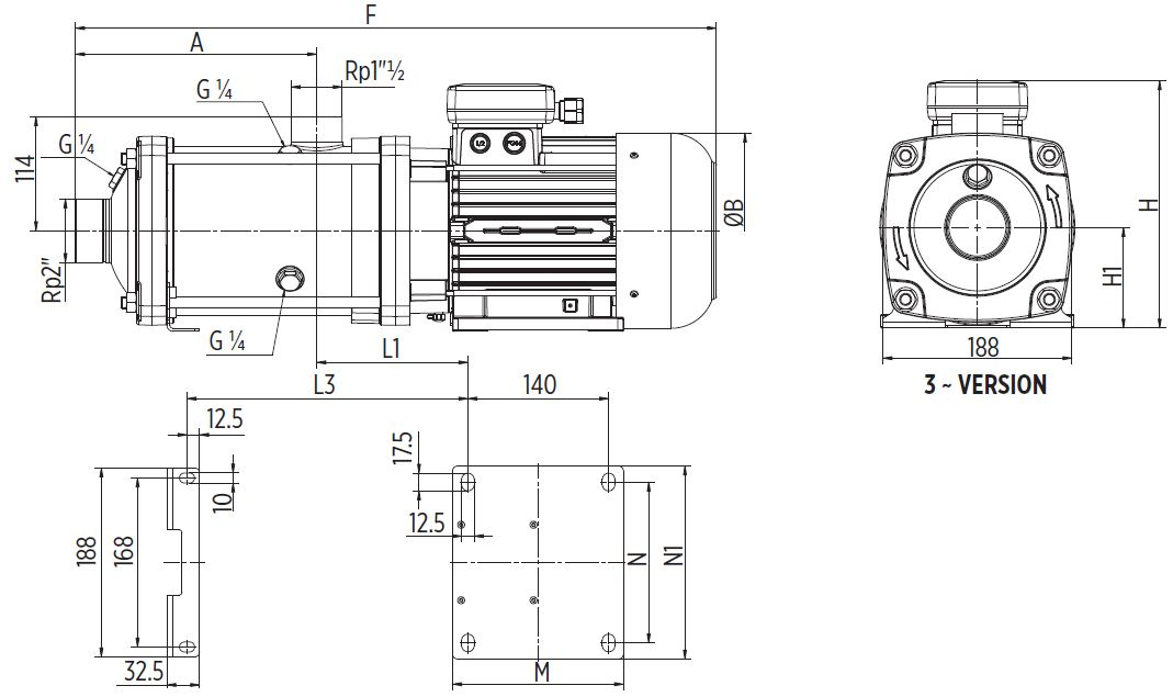 EH20 Horizontal multistage pump Dimensions three phase