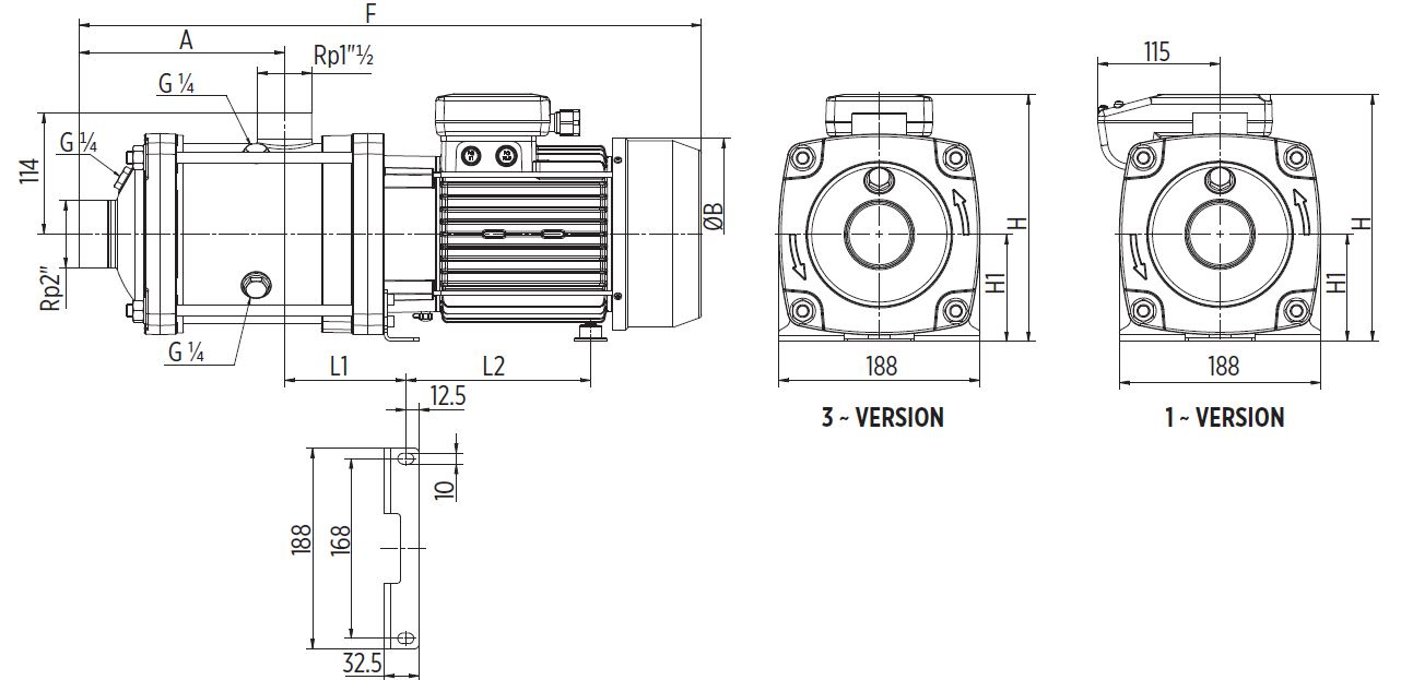 EH20 Horizontal multistage pump Dimensions